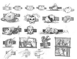 Design Sketches of various Props, and compositions by lubu-art