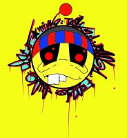 YELLOW  Graffiti Smiley Face Sticker by MF-minK