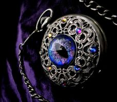 Super color shifting Dragon Eye - Pocket Watch by LadyPirotessa