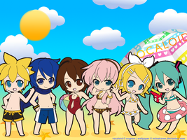 VOCALOID beach by miinakaren