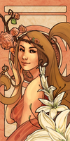 Jenny with Peached Roses and White Lillies by Momo-Deary