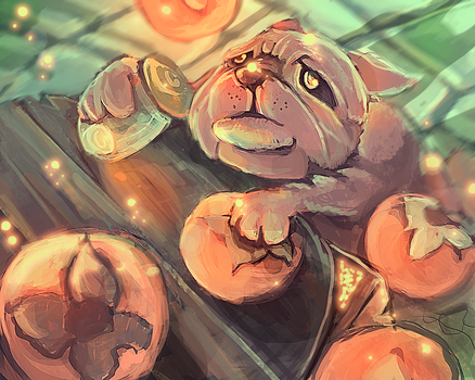 Magic persimmons and   baby  bulldog by kobolddoido