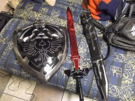 Dark Link Master Sword, Shield, and Sheath by yaphi1