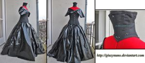 Original PVC and cotton corsetted gothic ballgown by giusynuno