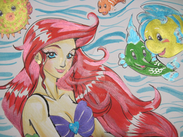 Ariel and Fishy Friends Metallics Closeup by alaer