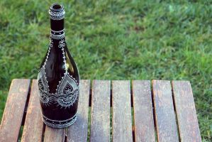 Hand-painted bottle in black and silver by purpleniya
