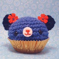 Blue and Orange Cupcake Bear by amigurumikingdom