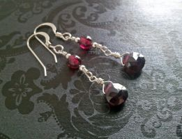 Blood Drop Garnet Earrings by QuintessentialArts
