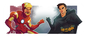 Tony Stark vs Bruce Wayne by dominicali