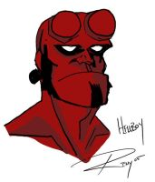 Hellboy head by Drawingremy