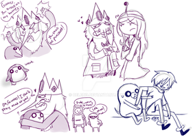 Ice King, Finn, And Jake Sketches 2 by Celebi9
