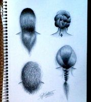 Hair Sketches by RavenSparrow17