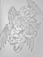 [Unfinished] death bats with roses by gbftattoos