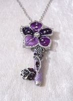 Purple Flower Key Pendant by Serata