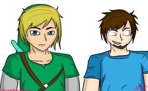 Link and Herobrine, dafuq by ZeFlyingMuppet