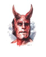 Hellboy watercolour by stevenrussellblack