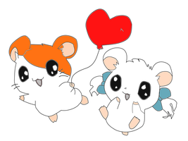 Bijou and hamtaro by XxwhitewolffirexX
