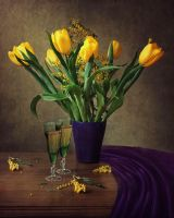 Still life with yellow tulips by Daykiney