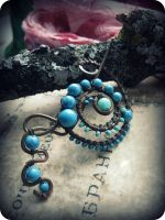 Spiral Shawl pin with Turquoise by Lirimaer86