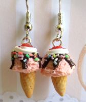 Strawberry Ice Cream Cone Earrings by LittleSweetDreams
