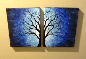 Tree over two canvases by blablover5