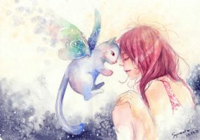 Red hair girl and the butterfly-cat by phuongsupercat