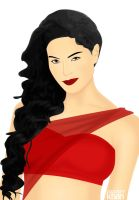 Veena Malik in red saree by ArsalanKhanArtist