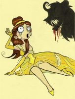 Burtonized Princess: Belle by SilverTallest