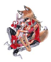 The Fox and the Rabbit-Smiling by Youkai-Yoko