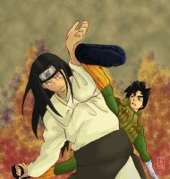 hyuuga neji vs rock lee colour by sharingandevil