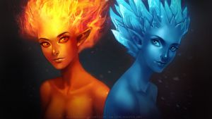 Ice and fire elementals by Alkven