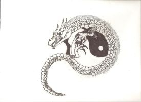 Dragon and Yin Yang by Coelophysis83