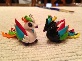 Black and White Rainbow Lovebird Phoenix Couple by SimonFinch