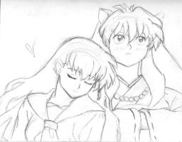 Inuyasha with Kagome by MilchstrabeSTern