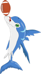 Dolphmon, playing with a football by Flutterflyraptor