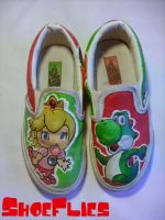 Yoshi and Peach Shoes Front by Shoe-Flies