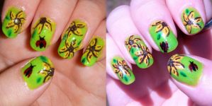 Summer Sunflower Nails by quixii
