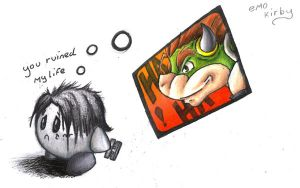 emo kirby doodle by Dragon2007