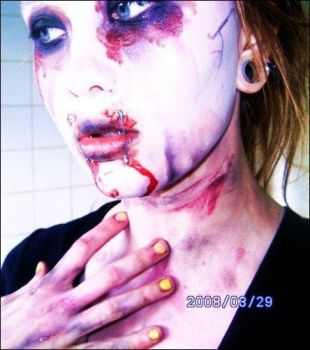 macarbe zombie makeup by porcelain-nightmare