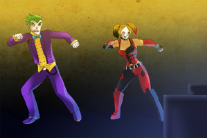Joker And Harley dance dance by pink-ninja