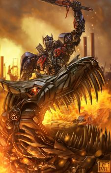 Optimus Prime and Grimlock fan art by JustineTutubi