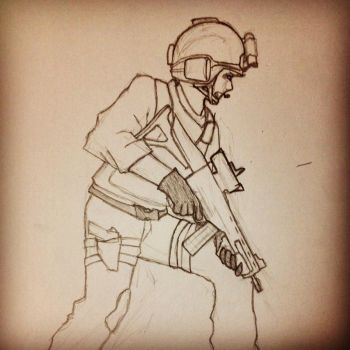 ARMA 3 Rifleman Pencil Drawing by TheDefiantBisharp