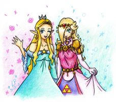 Zelda and Rosalina Costume Swap by DivaOfTime