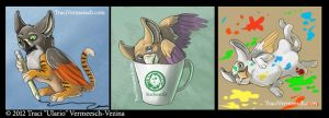 Three Cute Gryphon Stickers by Ulario