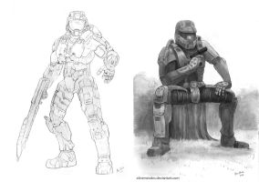 Master Chief Drawings by AlineMendes