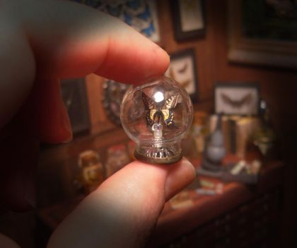Miniature - Glass Dome - Yellow butterfly 05 by AnnaBellLeeArt