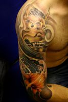 hannya mask tattoo by defpattern