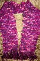 pink woven scarf by peaceocake