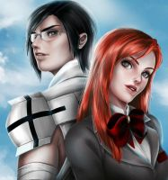 Bleach Orihime and Uryu by useche-oga