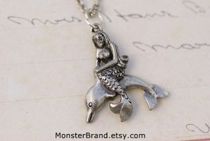 Mermaid and Dolphin Necklace by MonsterBrandCrafts